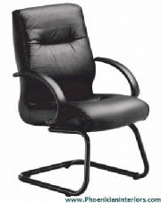 Conference Chairs, Black Leather Guest Chair