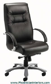Conference Chairs, Genuine Black Leather High Back Conference Chair