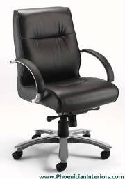 Conference Chairs, Genuine Black Leather Mid Back Conference Chair