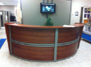 Round Reception Desk in Cherry from Canada Customer