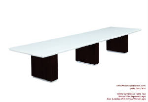 White Conference Table, 14 Foot White Conference Table with Wire Management and Grommets for Power