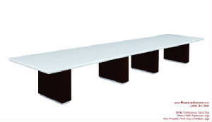 White Conference Table, 18 Foot White Conference Table with Wire Management and Grommets for Power