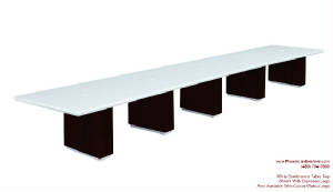 White Conference Table, 20 Foot White Conference Table with Wire Management and Grommets for Power