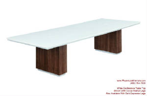 White Conference Table, 10 Foot White Conference Table with Wire Management and Grommets for Power
