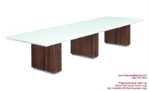 White Conference Table, 12 Foot White Conference Table with Wire Management and Grommets for Power