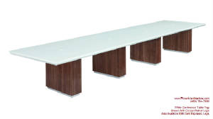 White Conference Table, 16 Foot White Conference Table with Wire Management and Grommets for Power