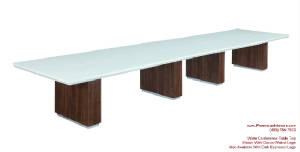 White Conference Tables With Grommets - 18 foot conference table