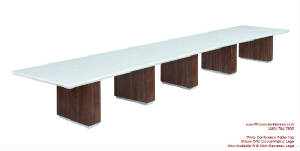 White Conference Table, 22 Foot White Conference Table with Wire Management and Grommets for Power