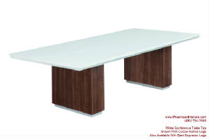 White Conference Table, 8 Foot White Conference Table with Grommets and Wire Management for Power